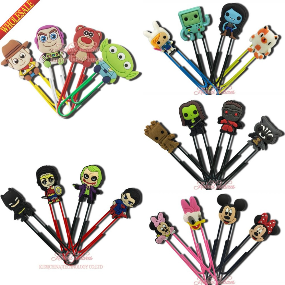 DHL OR EMS 1000PCS Avengers Star Wars PVC Paper Clips Page Holder Cartoon Mickey Unicorns Anime Bookmarks Party Gift