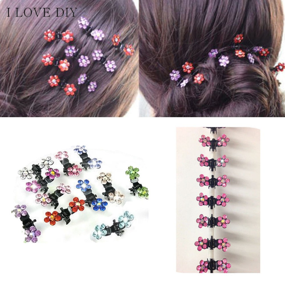 6pcs/lot Sweet Crystal Rhinestone Flower Mini Hair Claws Clips Pin Clamps for Girls Hair Styling Claws Fashion Hair Accessories