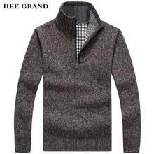 Hee Grand/мужская повседневная Стиль свитер стоять воротник тонкой шерсти теплые толстые осень-зима молнии пуловеры плюс Размеры M-3XL MZM515