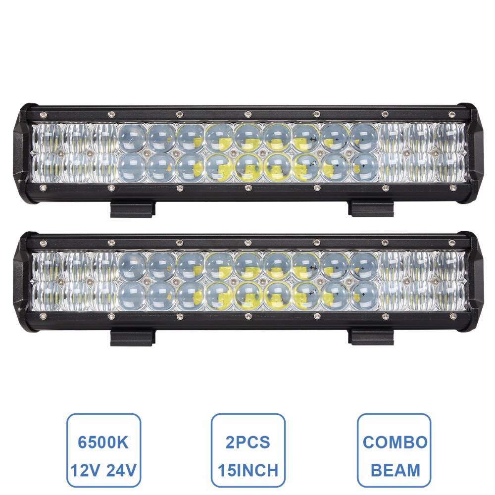 2x 15 INCH OFFROAD LED WORK LIGHT BAR COMBO 12V 24V CAR TRUCK ATV BOAT SUV WAGON TRAILER CAMPER 4X4 4WD TRACTOR LED DRIVING LAMP oslamp 52 300w spot flood combo beam offroad led light bar 12v 4x4 truck trailer tractor camper tractor 24v suv vans wagon 4wd