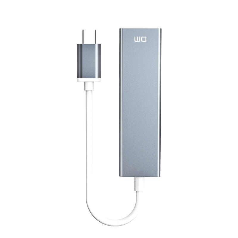 نوع C إلى 3 منفذ USB3.0 عالية السرعة محور مع منفذ إيثرنت 1000mbps CHB013 دعم 1 تيرا بايت HDD نقل سرعة تصل إلى 300 برميل/الثانية