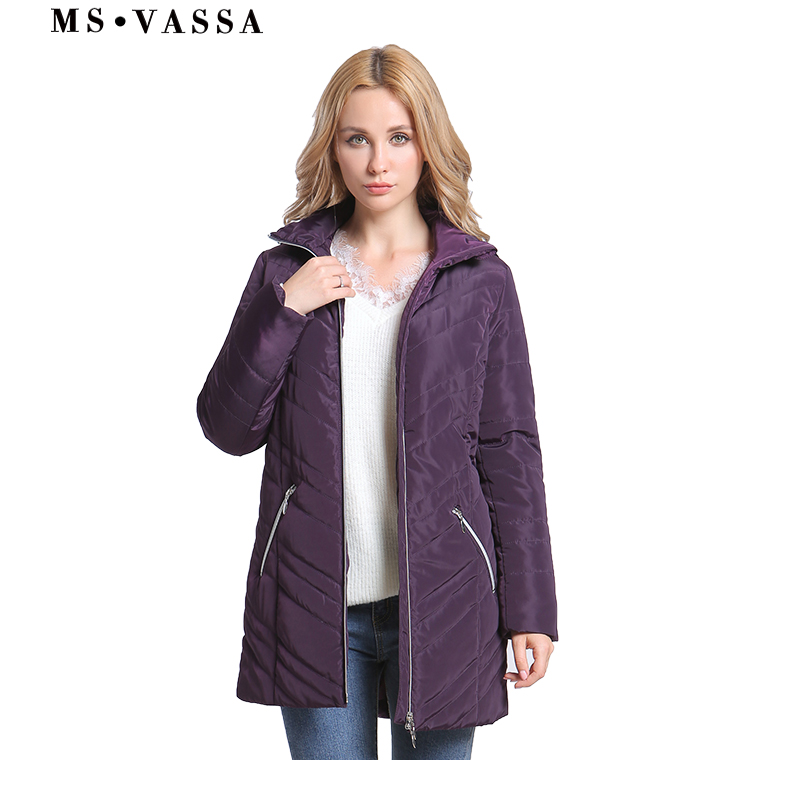 MS VASSA Women   Parkas   Big size 2019 New Spring Winter Jackets Turn-down collar plus size 6XL 11XL padding female outerwear
