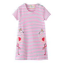 Jumping meters new striped Flamingo cartoon clothes short sleeves summer dresses applique cotton clothing 2-7T 2019