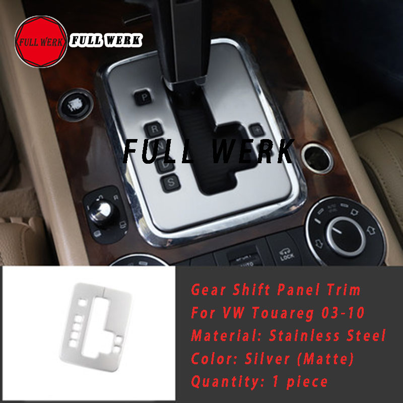1pc Stainless Steel Car Styling Gear Shift Panel Trim Sticker Frame Cover for Volkswagen Touareg 2003 2010 Interior Accessories