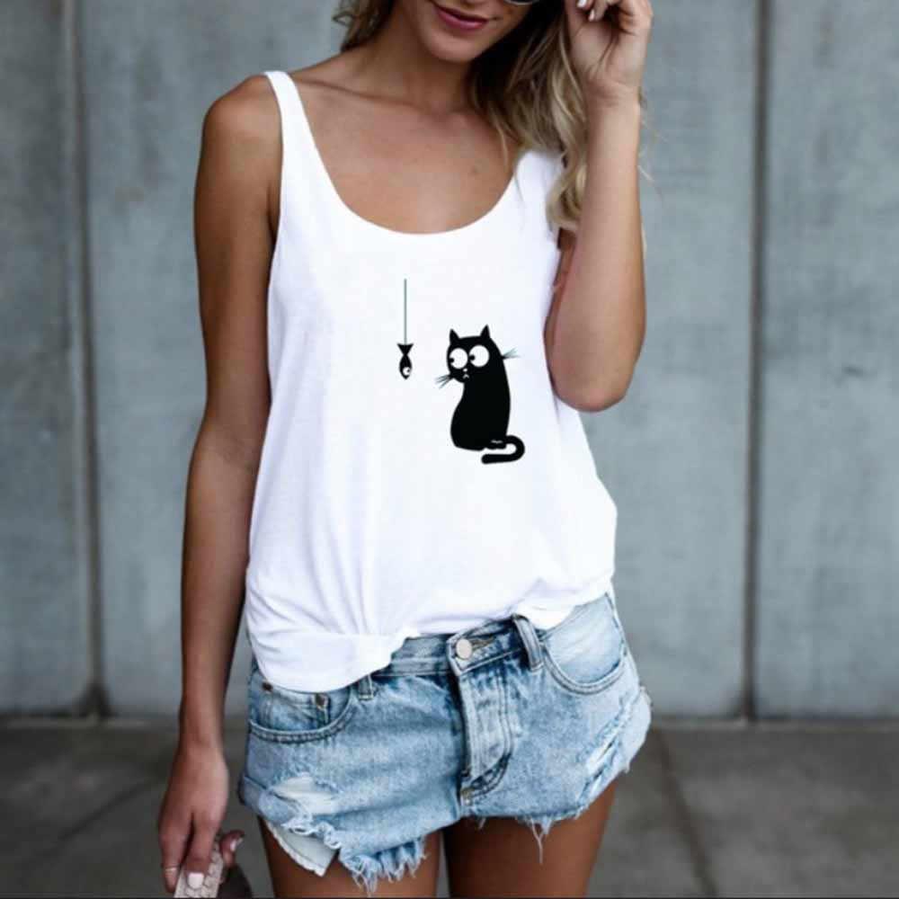 夏のトップス 2019 ファッション女性猫プリントカジュアルタンクトップノースリーブガール o ネックシャツ vestidos mujer verano に