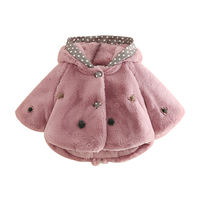 Mudkingdom Girls Winter Faux Fur Coats Rabbit Ears Hooded Polka Dot Buttoned Toddler Thermal Girl Tops With Flower Decoration