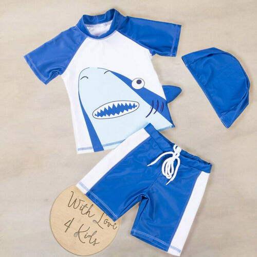 3Pcs Set Shark Swimwear Toddler Kid Baby Boy Girl Swimsuit Swimwear Bathing Beach Rash Guard Surfing Suit UPF50+