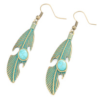 Fashion Accessories Stud Earring Ancient Bronze Color Leaves Hollow Earrings Gift For Women Brincos Bohemian Tassel Earrings
