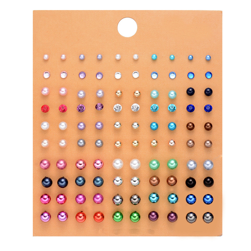 50 Pairs/lot Simulated Pearl Stud Earring Set For Girls Cute Resin Flowers Bear Mixed Ear Studs Wholesale Kids Jewelry