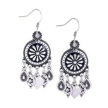 Drop Shipping 2016 Newest Low Price Silver Plated Crystal Heart Tassel Earrings For Women Flower Bohemia Vintage Ethnic Jewelry