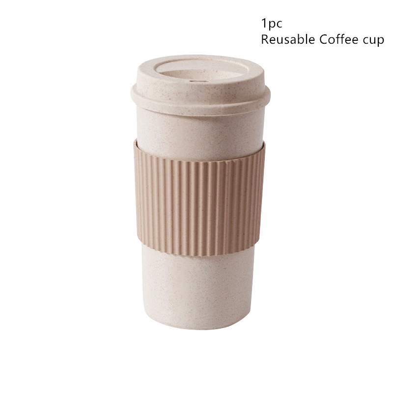 1PC Reusable Coffee Cup Travel Anti-scalding Coffee Mugs with Stir Lid Wheat Stalk PP Cup Sleeve BPA Free Milk Cups Outdoor Mugs