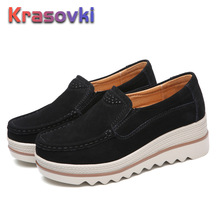 Krasovki Platform Shoes Women Slip on Breathable Comfortable Creepers Sneakers moccasins Suede Loafers new sneakers