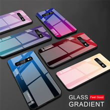 For Samsung Galaxy S10E S10 S9 S8 Plus Case Gradient TPU Frame+Tempered Glass Colorful A70  A50 A30 A8S M30 M20 A9 Star