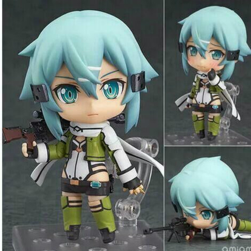 Anime Sword Art Online Nendoroid Sinon Asada Sao Juguetes PVC Action Figure Collection Model Kids Toy Doll Brinquedos 10CM WX222 original box sonic the hedgehog vivid nendoroid series pvc action figure collection pvc model children kids toys free shipping