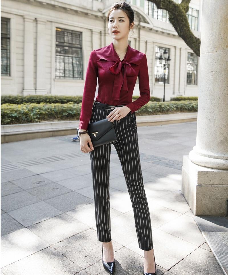 Blouses Ensembles Ol Dames 2 Color bourgogne De Styles Picture Mode Pièce Femelle Chemises Femmes Vin Tops Rouge D'affaires Pantalon Et Costumes 8wXZN0kOPn