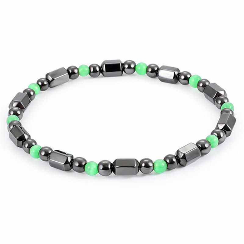 Многоцветный магнитный терапевтический браслет регулируемый браслет для потери веса круглый черный камень уход за здоровьем роскошный продукт для похудения