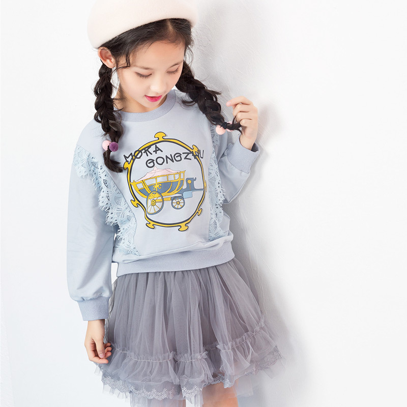 Girls T-Shirts Long-Sleeve Tops Autumn Kids Spring for Patchwork 4/6/8/..