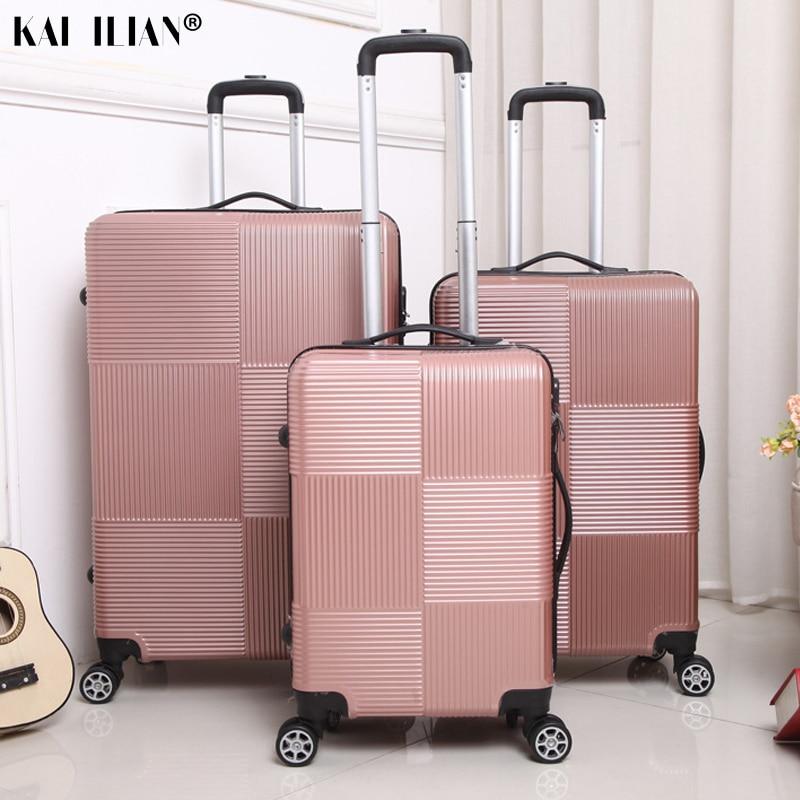 Curso Rolando bagagem Sipnner roda ABS + PC Mulheres homens moda cabine mala com rodas carry-on caixa do trole bagagem 20/28 polegada