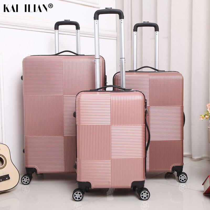 Equipaje de viaje con ruedas para Sipnner, ABS + maleta para mujer, maleta con ruedas para hombre, cabina de moda, caja de transporte, equipaje de 20/28 pulgadas