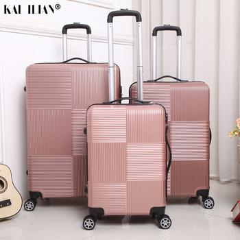 Podróż Rolling bagaż Sipnner koła ABS + PC kobiety walizka na kółkach mężczyźni moda kabina carry-on wózek na kółkach bagaż 20 28 cala tanie i dobre opinie NoEnName_Null 30CM Rolling przechowalnia 50CM Spinner 74CM Unisex black silver gold rose Gold purple blue men s suitcase