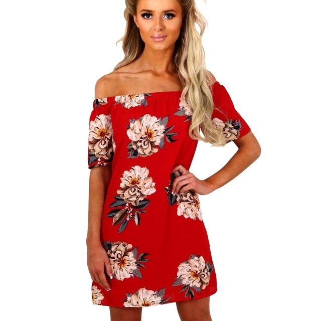 2018 women off shoulder summer dresses flowers print fashion women slash  neck red dress 8e6f94972969