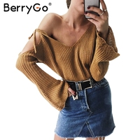 BerryGo Cut Out Off Shoulder Knitted Pullover Women Casual V Neck Straps Flare Sleeve Sweater Loose