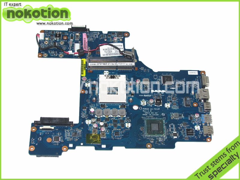 NOKOTION LA-7212P K000128610 laptop motherboard for toshiba p770 HM65 GMA HD3000 DDR3 Mainboard Full Tested for lenovo laptop motherboard g570 piwg2 la 6753p hm65 ddr3 pga989 mainboard