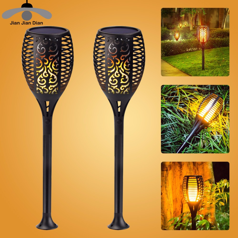 Led Solar Flame Lamp Bulb Flickering Path Lights Effect Fire Street Lawn Torch Decoration Outdoor Garden Emulation Burning IP65