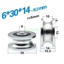 1 шт. 6*30*14 мм u-образное колесико, рифленый подшипник шкив, 1 см направляющее колесо/трос мостовой кран