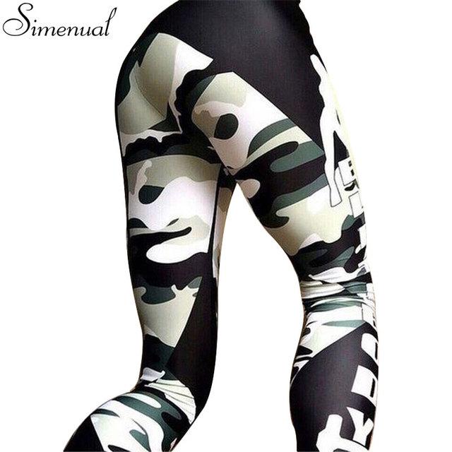 Harajuku camuflaje empalme athleisure de fitness legging pantalones ropa de mujer 2017 moda delgado leggings elásticos push up leggins