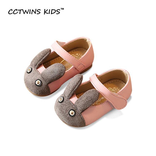 CCTWINS CRIANÇAS 2017 Primavera Menina Miúdo Crianças De Couro Pu Moda Sapato de coelho Festa Marca Do Bebê Da Criança Rosa Mary Jane Plana G1068