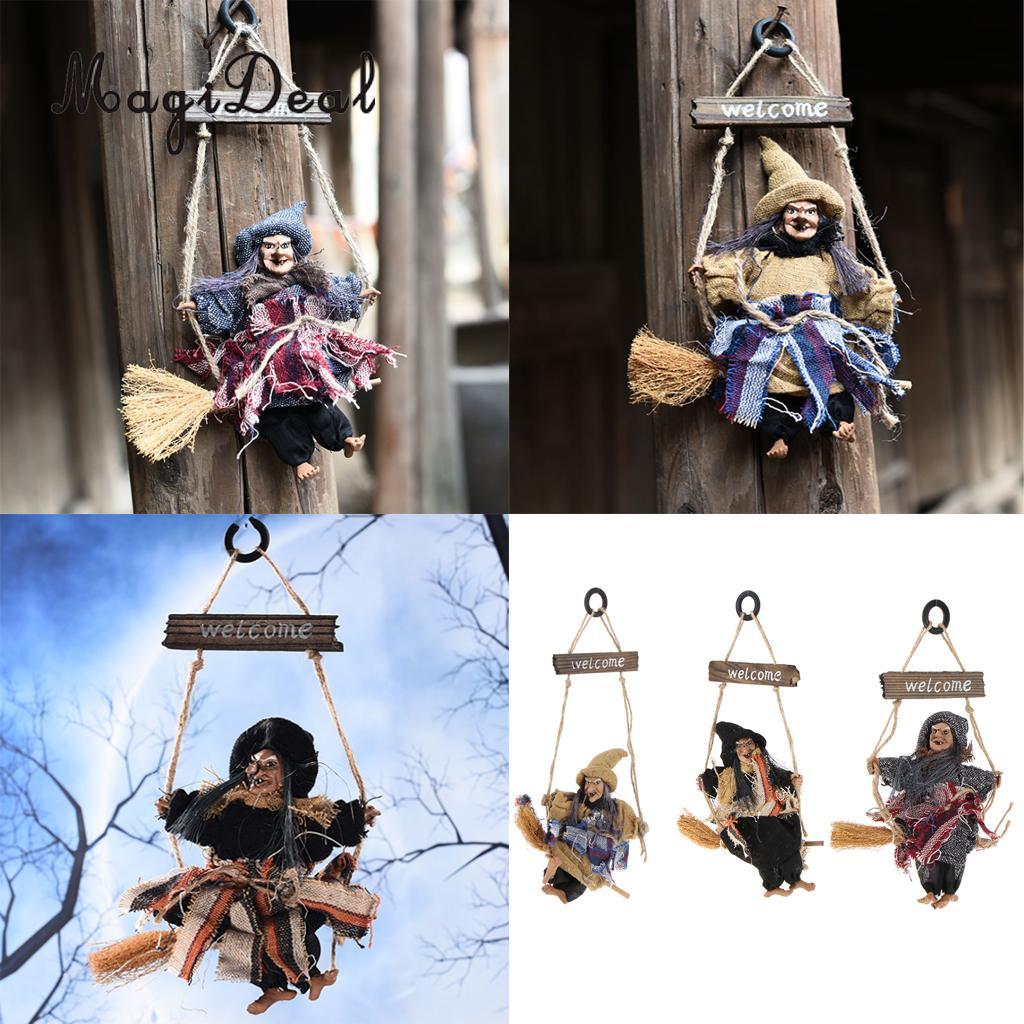 MagiDeal 3pcs Scary Halloween Welcome Witch Broom Haunted