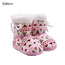 2017 efterår vinter varm fleece sne støvler til baby pige dreng anti-silp prewalker boot sko 0-18 måneder