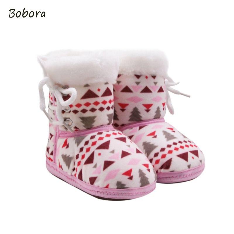 8b7851cacbe57 2017 Otoño Invierno warm fleece Botas de nieve para bebé niño anti-silp  prewalker bootie Zapatos 0-18 meses