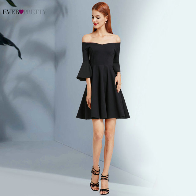 Robe De Soiree Little Black Homecoming Dresses 2018 Ever Pretty EP05883  Elegant A Line Off Shoulder Short Evening Party Gowns c446bd686