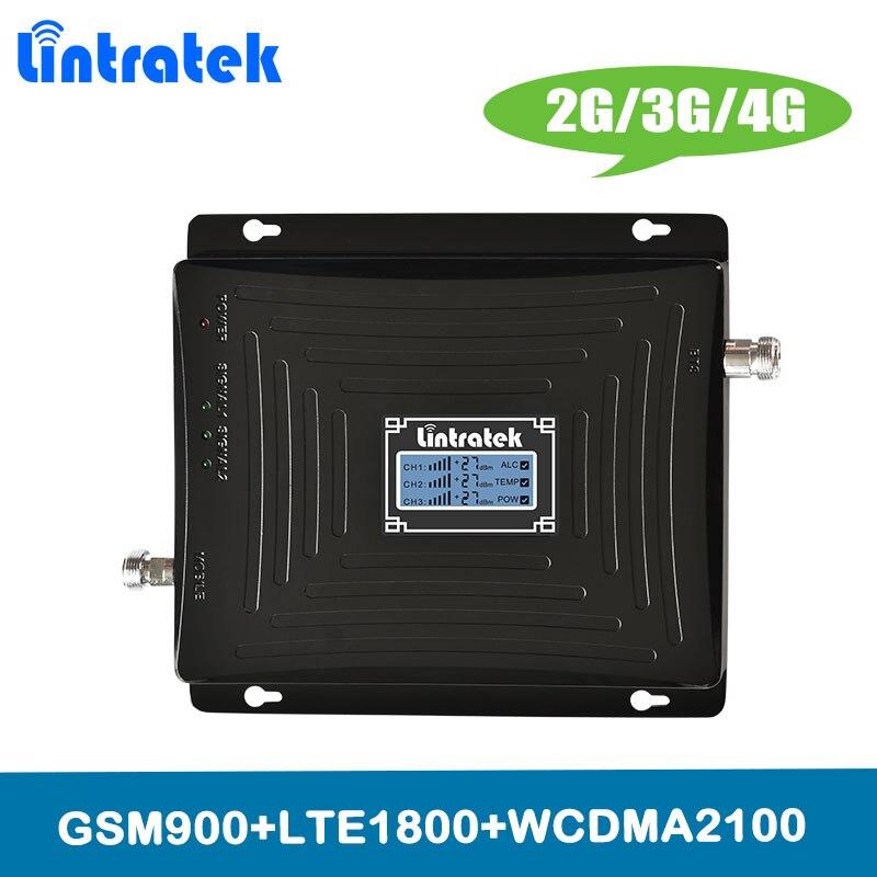 Amplificador Lintratek 2G 3G 4G triple banda amplificador de señal celular GSM 900 DCS LTE 1800 WCDMA UMTS 2100 MHz repetidor de señal de teléfono móvil