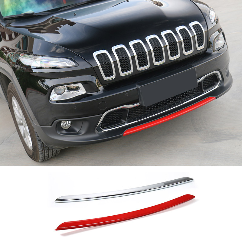 SHINEKA Car Styling ABS Front Bumper Decoration Strip Cover Trim For Jeep Cherokee 2014-2018 Car Accessories