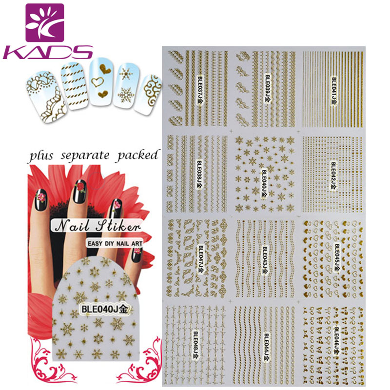 (20/50/100pcs) New Gold Flower Star Butterfly Heart Water Decals Nail Art Fashion Girls Designs Nail Tips Decoration for Nail