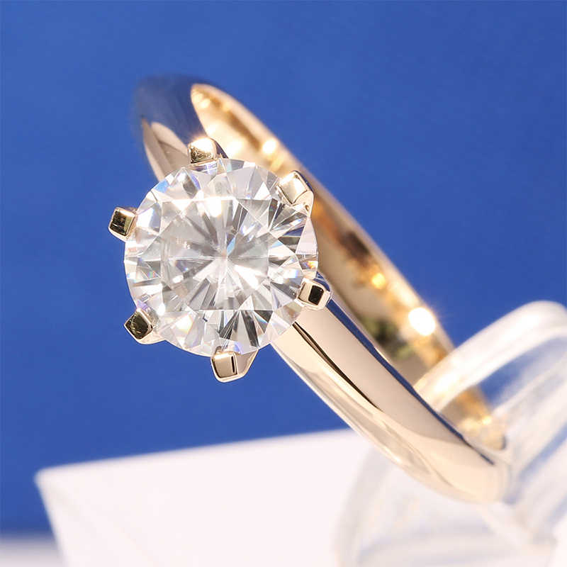 YANHUI Original Pure Gold Rings For Women Luxury SONA 2 Carat Diamant Zircon Engagement Wedding Rings Gold Color Jewelry  ZJR169
