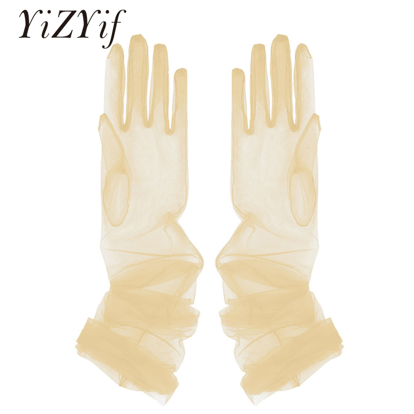 YiZYiF Women Sheer Tulle Gloves Transparent Full Finger Elbow Long Gloves Mittens Party Photography Accessory Gloves