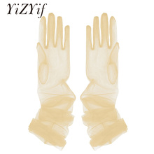 YiZYiF Women Sheer Tulle Gloves Transparent Full Finger Elbo