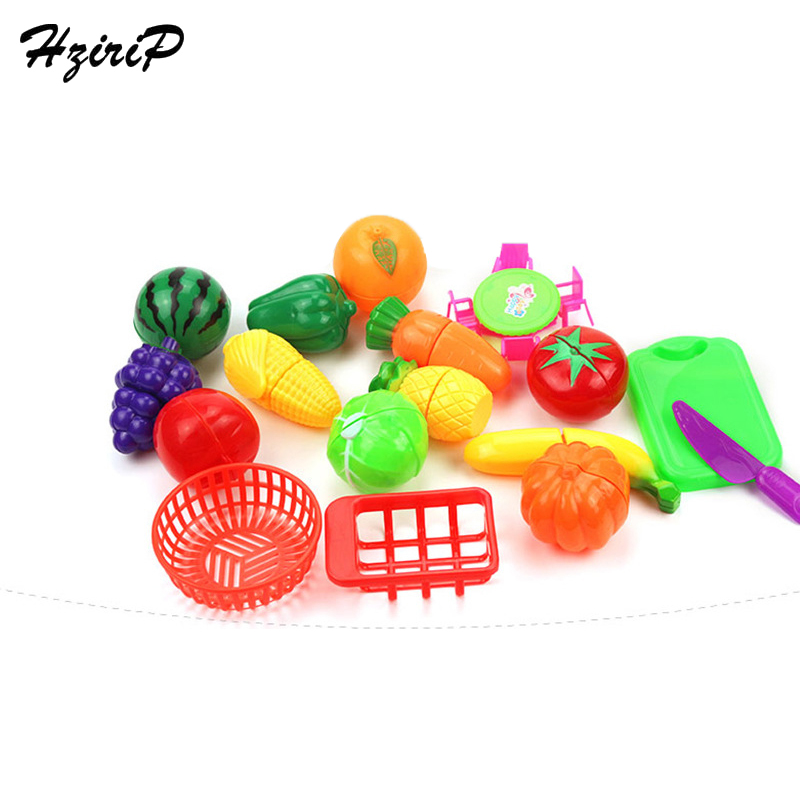 HziriP 17Pcs/lot Fruit Vegetable Sets Children Kitchen Toys Food Safety Pretend Play Plastic Early Educational Kids Toys Gifts