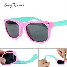 23f4ceeb0e58d LongKeeper Enfants lunettes de Soleil Enfants Verres Polarisés Lunettes  Filles Garçons Silicone UV400 Enfant Miroir Bébé Lunette.