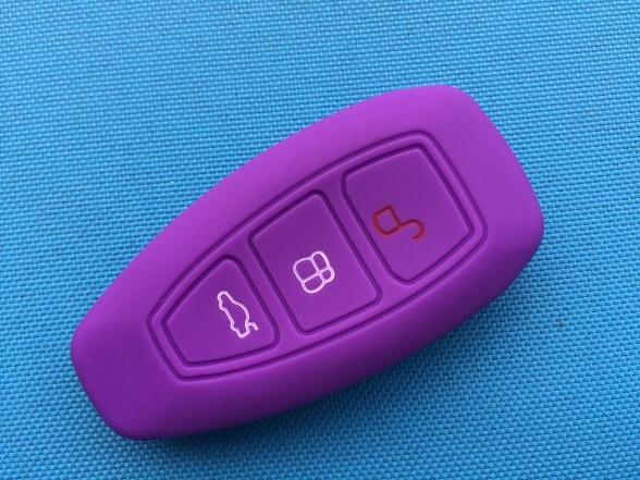 1 шт. 3 кнопки силиконовый чехол для ключей от машины чехол для Ford Focus 3 MK3 Mondeo Fiesta Kuga Escape Ecosport 2013 Smart Car style - Название цвета: Purple
