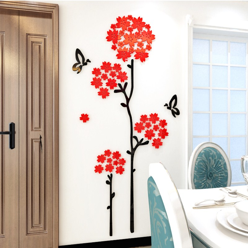DIY cherry tree acrylic photo wall sticker creative personality 3D stickers bedroom bedside background surface decoration