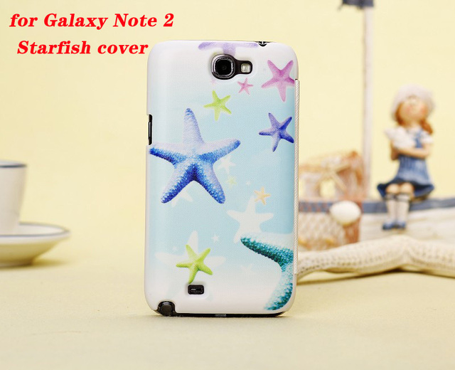 Luxury Ocean Style Designer Leather Case for Samsung Galaxy Note 2 N7100  Starfish Flip Cover Case, Factory Price+ Free Shipping