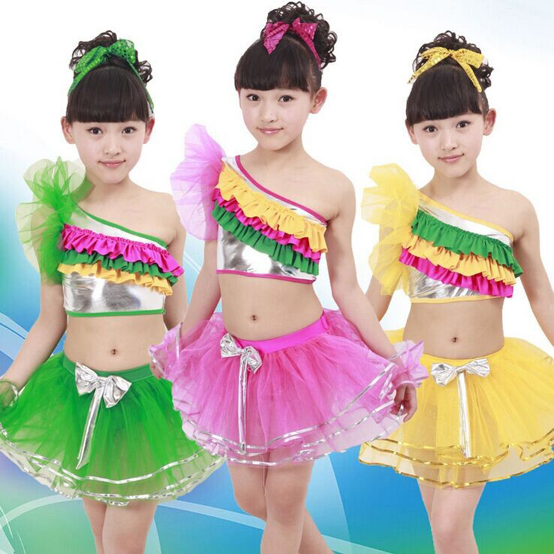 Free shipping 	Children colorful sequined performance stage dancing costumes girl's latin and modern dance dress JQ-326