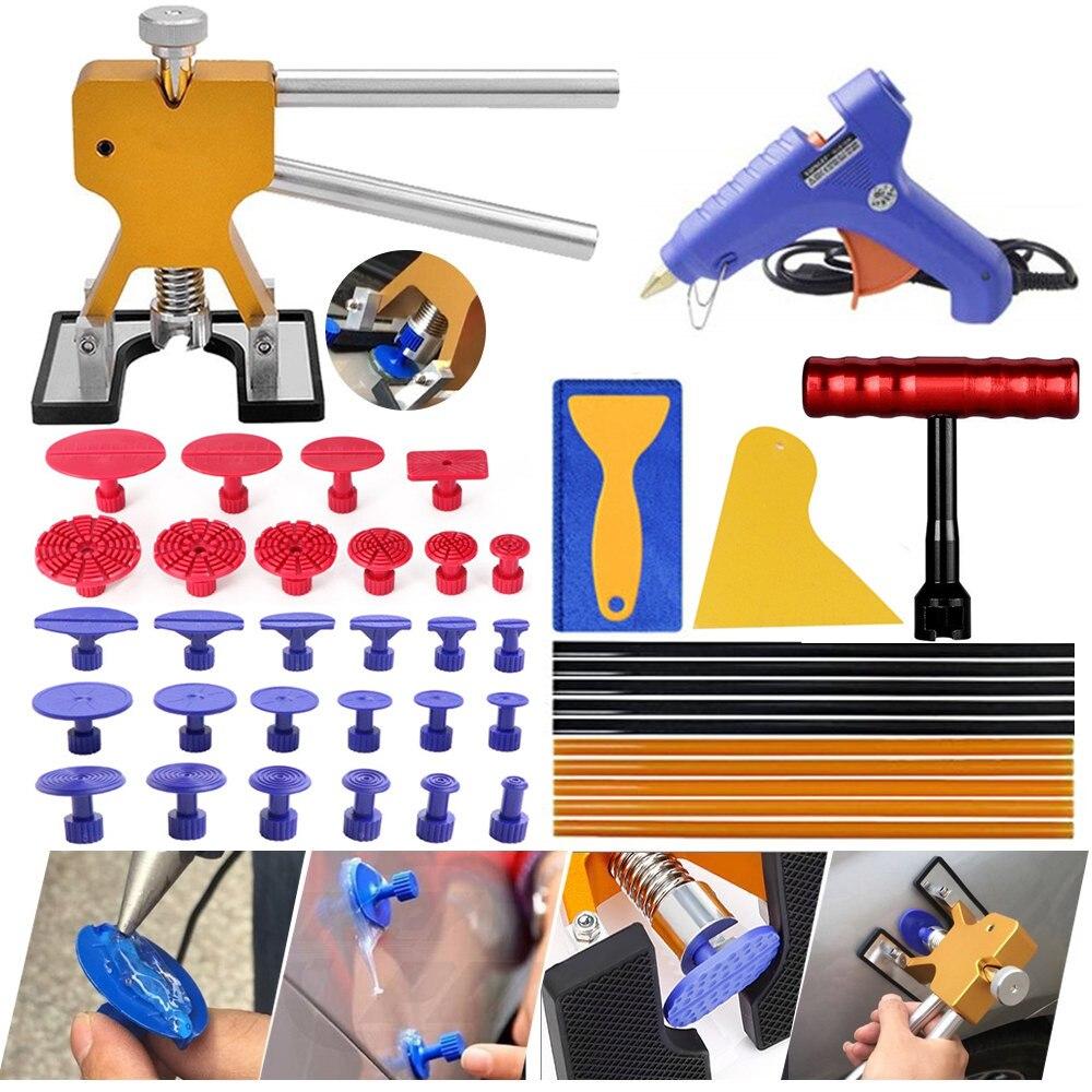 PDR outils professionnel débosseleur réparation carrosserie Kit débosselage pistolet à colle et bâtons sans peinture débosseleur t-bar extracteur
