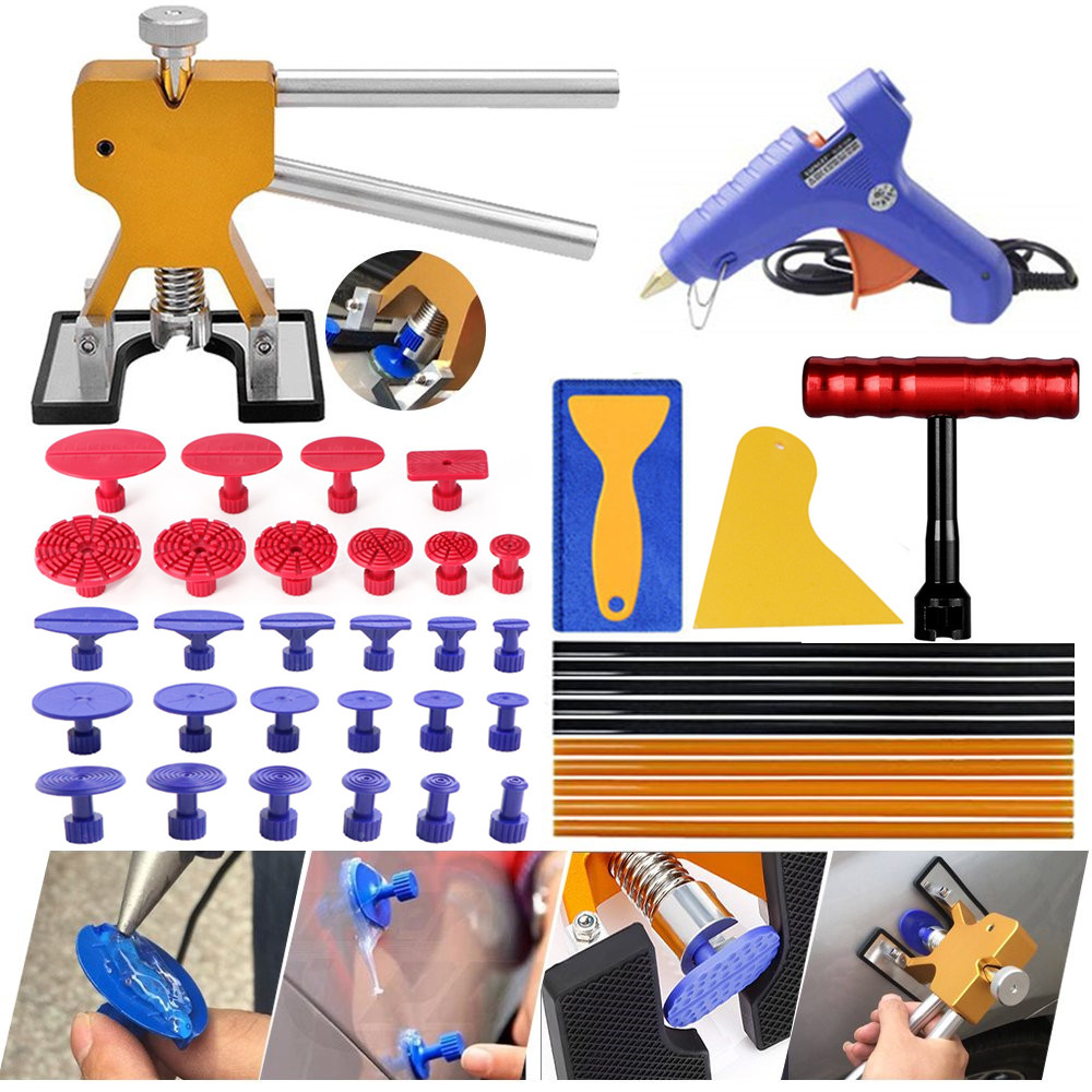 PDR tools Professional Dent Repair Lifter Car Body Dent Removal Kit Glue Gun and Sticks Paintless Dent Repair T-bar PullerPDR tools Professional Dent Repair Lifter Car Body Dent Removal Kit Glue Gun and Sticks Paintless Dent Repair T-bar Puller