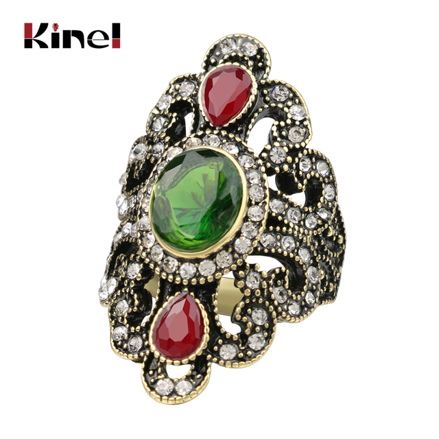 Kinel Women Bohemian Jewelry Ancient Bronze Rings For Gift Vintage Jewelry Black Red Resin Stone Turkish Female Ethnic Rings